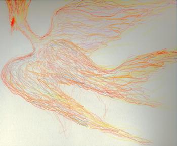 ローズオットーでラクガキした火の鳥
