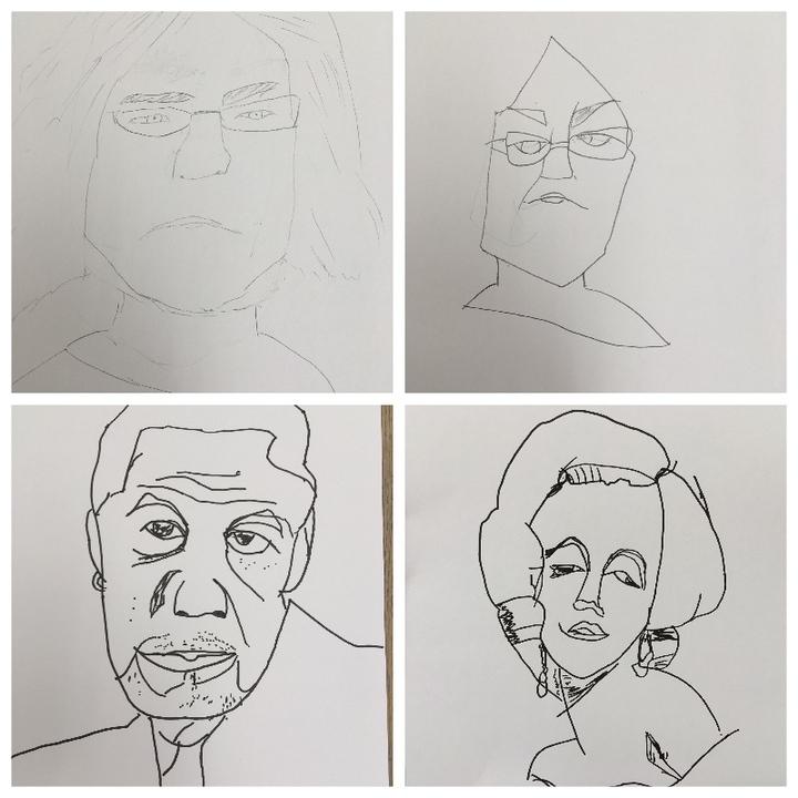 左上:普段の描き方 右上&下段:快画法